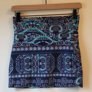 Blue Paisley Lily White Skirt